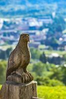 nave águia de madeira em cima do muro em maienfeld, suíça