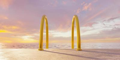 escada dourada no mar com céu nublado, renderização em 3D foto