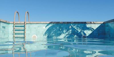 piscina com escadas enferrujadas enchendo-se de céu claro e sombra de palmeira, renderização 3D foto