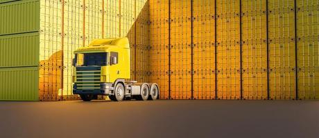 caminhão amarelo com muitas pilhas de contêineres, renderização em 3D