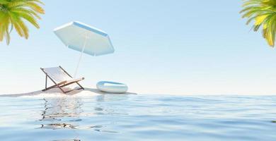 pequena ilha com rede, guarda-chuva e bóia, renderização em 3D foto