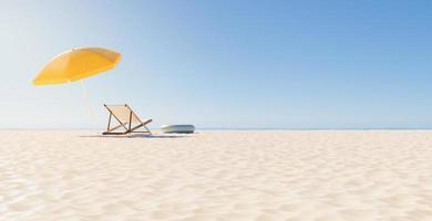 vista traseira de uma cadeira com guarda-chuva na praia, renderização em 3D