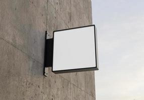 maquete do logotipo quadrado na parede de concreto, renderização em 3D