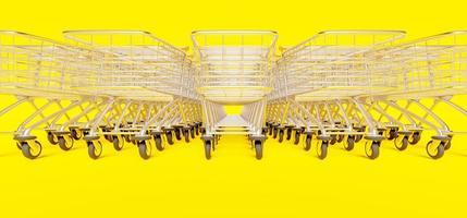 close-up da fileira de carrinhos de compras empilhados em fundo amarelo, renderização 3D