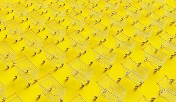 padrão de carrinhos de compras em fundo amarelo, renderização 3D