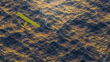 avião amarelo voando sobre o oceano em um pôr do sol intenso, renderização em 3D