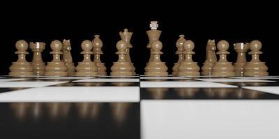vista frontal de peças de xadrez de madeira marrom no tabuleiro de xadrez e fundo preto, renderização 3D