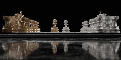 vista lateral de um tabuleiro de xadrez em uma mesa de mármore escuro com dois peões frente a frente em um fundo preto, renderização em 3D