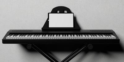 piano eletrônico em um suporte de metal com um tablet em branco, renderização 3D