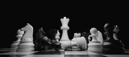close-up de peças de xadrez empilhadas com a rainha branca destacando-se no centro, renderização em 3D