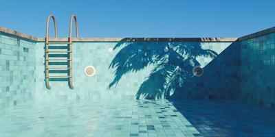 piscina vazia com escadas enferrujadas e piso de ladrilho. conceito início do verão, renderização em 3D foto