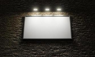 cartaz publicitário em parede de tijolos com holofotes, renderização em 3D