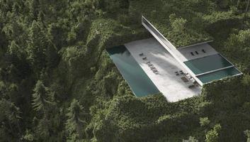 vista aérea de uma casa moderna em uma floresta foto