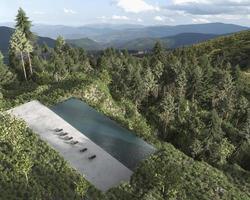 piscina com vista para a montanha foto