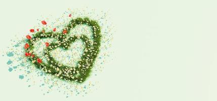banner de um coração de flores de primavera com fundo verde, renderização em 3D