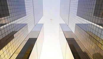 grandes arranha-céus financeiros de vidro na cidade com um avião passando por cima em um céu claro, renderização em 3D