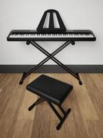 Representação 3D de piano eletrônico em suporte de metal com poltrona de couro preto