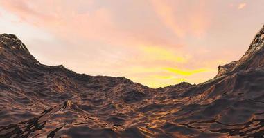 Ilustração 3D da água do mar com o pôr do sol quente ao fundo