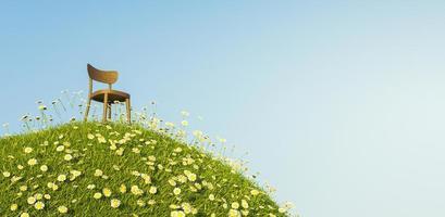 cadeira de madeira solitária em uma colina cheia de margaridas e grama com um céu azul claro, renderização em 3D