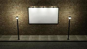 cartaz publicitário em parede de tijolos com lanternas, renderização em 3D