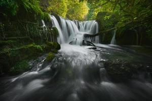 impressionante cachoeira de um rio em uma floresta verde foto