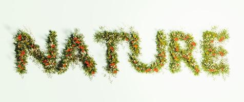 sinal da natureza escrito com flores e grama, renderização 3D foto