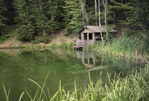 uma cabana à beira de um lago rodeado por árvores em Yalta, Crimeia foto
