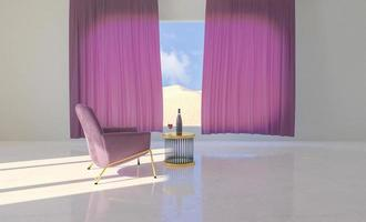 sala com sofá e mesa, garrafa de vinho e janela com paisagem desértica