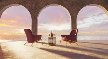 terraço com arcos e mesa com taças de vinho