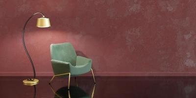 design interior minimalista com detalhes dourados, abajur e sofá, renderização em 3D foto