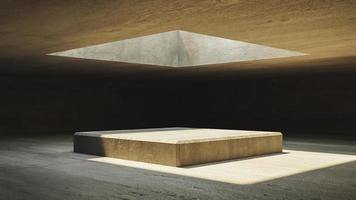 interior com paredes de concreto e janela superior foto