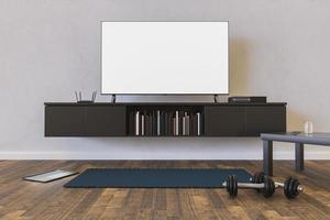 sala de estar com maquete de tv com halteres