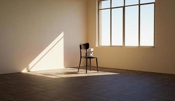 cadeira com livros na frente de uma janela