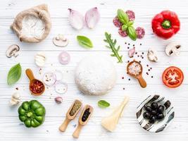 ingredientes para pizza caseira em fundo branco de madeira