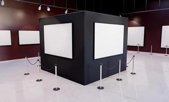 coluna de museu com maquetes de molduras com holofotes iluminados foto