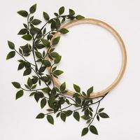 folhas verdes decoradas com moldura de círculo de madeira sobre fundo branco foto