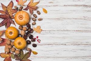 folhas e vegetais de outono com espaço de cópia foto