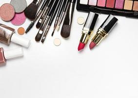 conjunto de maquiagem com espaço de cópia foto