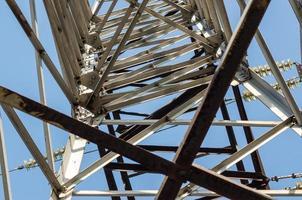fragmento da estrutura de uma torre de uma linha de alta tensão foto