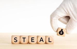 mão, escolhendo um bloco de madeira com o ícone de um saco de dinheiro e roubar palavras em blocos de madeira foto