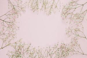 moldura feita com flores de respiração de bebê gypsophila em fundo rosa foto