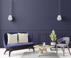 grande sala de estar moderna, renderização em 3D foto