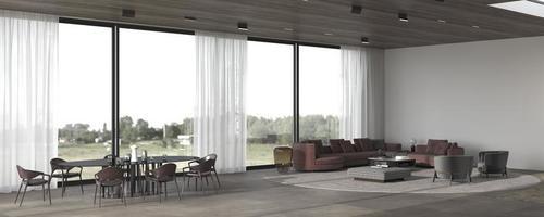 moderno e luxuoso plano aberto com sala de jantar e sala de estar foto