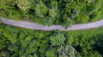 vista aérea de cima carro dirigindo pela floresta em estrada secundária, vista do drone foto