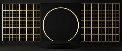 Renderização 3D de pedestal isolado em fundo preto com moldura de ouro foto