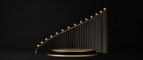 Renderização 3D do pedestal isolado em um fundo preto com elementos de ouro foto