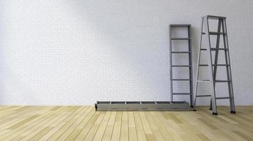 Parede em branco 3D e escada foto