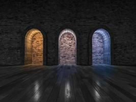 3ds que rende luz de 3 cores da porta em arco foto