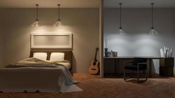 interior do quarto, renderização em 3D foto