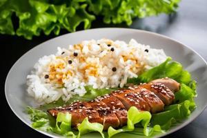 comida caseira - frango teriyaki com arroz branco e pimenta em um fundo preto foto